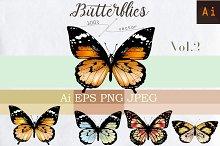 Set of vector butterflies Vol.2