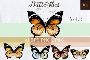 Set of vector butterflies Vol.2