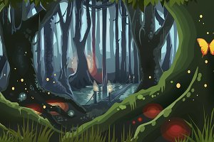 Fantasy Forest Illustration Dark