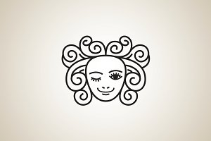Curly Beauty Logo Template
