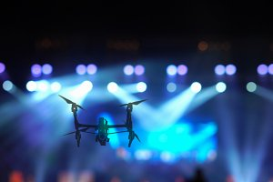 Closeup silhouette of Drone flying f