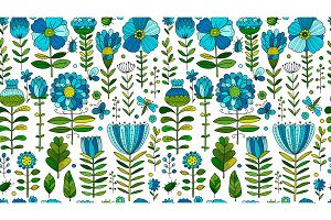 Floral meadow, seamless pattern for