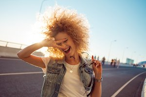 Beautiful and cheerful young woman