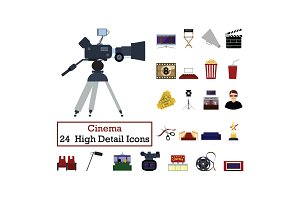 Set of 24  Cinema Icons