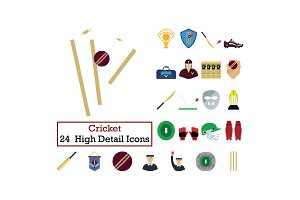 Set of 24  Cricket Icons