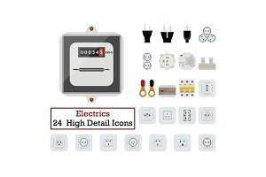 Set of 24  Electrics Icons
