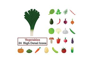 Set of 24  Vegetables Icons
