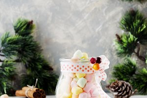 jar with marshmallows for Christmas