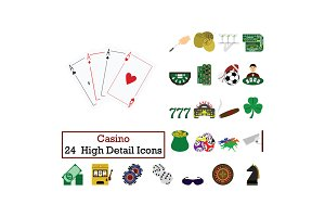 Set of 24  Casino Icons