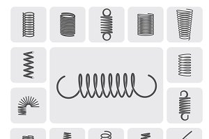 Flexible metal spiral springs icons