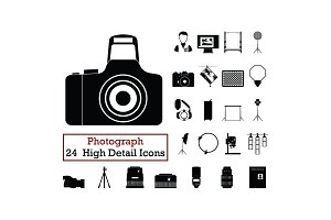 Set of 24 Photography Icons