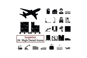 Set of 24  Logistics Icons