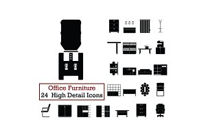 Set of 24  Office Furniture Icons