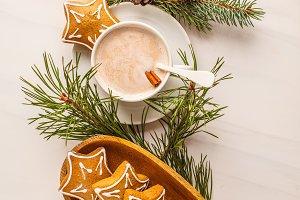Christmas flat lay. Christmas table