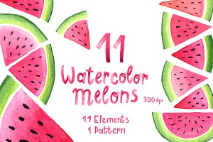 Watercolor Melons