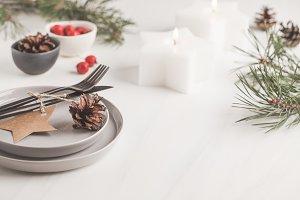 Christmas beautiful table setting.