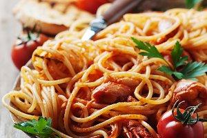 Italian spaghetti with shrimps