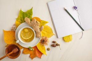Autumn tea, autumn background