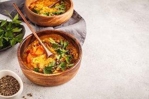 Yellow Indian vegan lentil soup