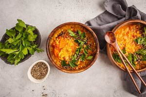 Yellow Indian vegan lentil soup