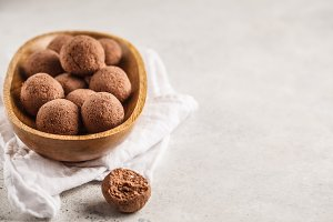 Raw vegan balls from nuts and cocoa