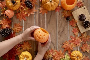 Pumpkin in Lady's Hand Halloween