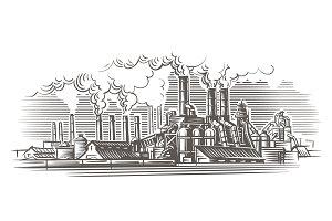 Industrial landscape illustration.