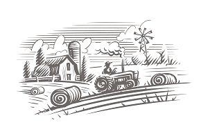 Coutryside landscape illustration.