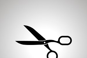 Scissors sign, simple black icon