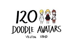 120 Hand Drawn doodle avatars