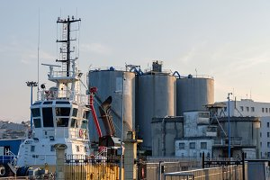 Silos and port facilities in the