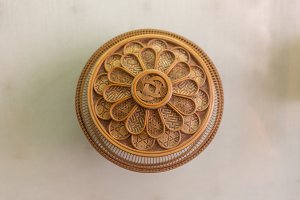 Wicker placemat surface top view