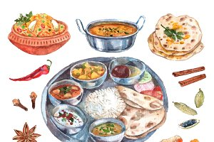 Traditional indian food ingredients