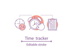 Time tracker concept icon