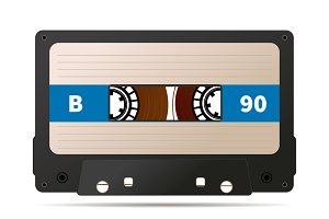 Realistic black audio cassette