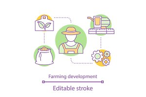 Farming development concept icon