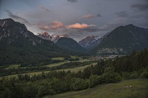 Valley and sunset in mountains