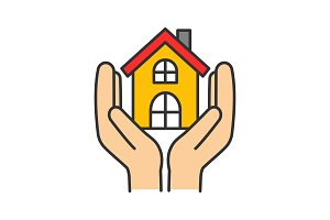 Affordable housing color icon