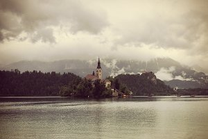 Church on Island and Castle at Bled