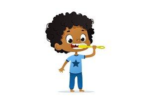Cute Boy Brushing His Teeth