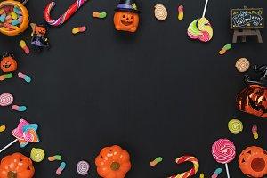 Top view Happy Halloween Background
