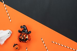 Top view Happy Halloween Background