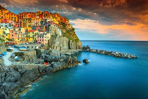 Beautiful famous Manarola village