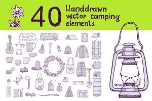 40 Handdrawn camping elements
