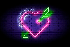 Neon heart with arrow.
