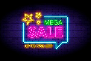 Mega sale illustration in neon style