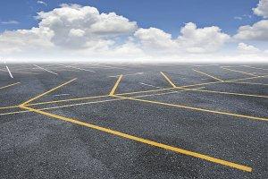 Car parking with blue sky