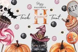 Trick or Treat! Halloween.Watercolor