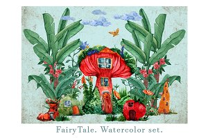 Fairy Tale. Watercolor set.