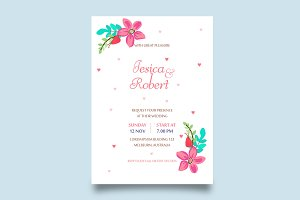 beauty floral weeding invitation car